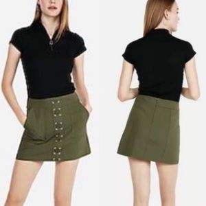 Express Army Green Lace Front Mini Skirt Size 00